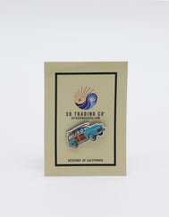 Sky blue 1947 Woody vintage wagon Car Pin with a surfboard on top