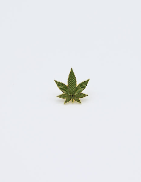 Marijuana Cannabis Leaf  pin green colored with Gold painted Trim. Metal Label Pin accessory.