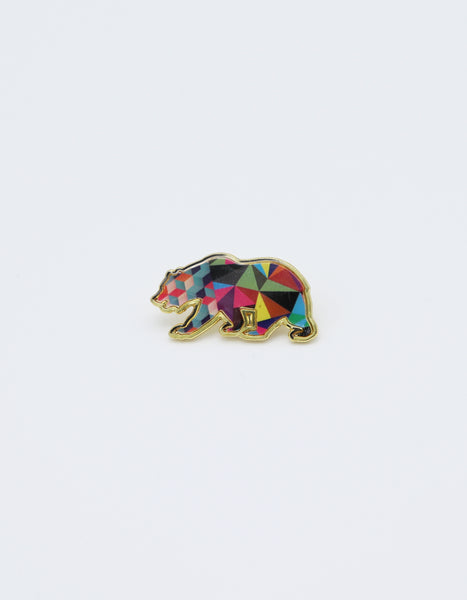 Gold Colored CA Bear Pin filled with Colorful geometric shapes