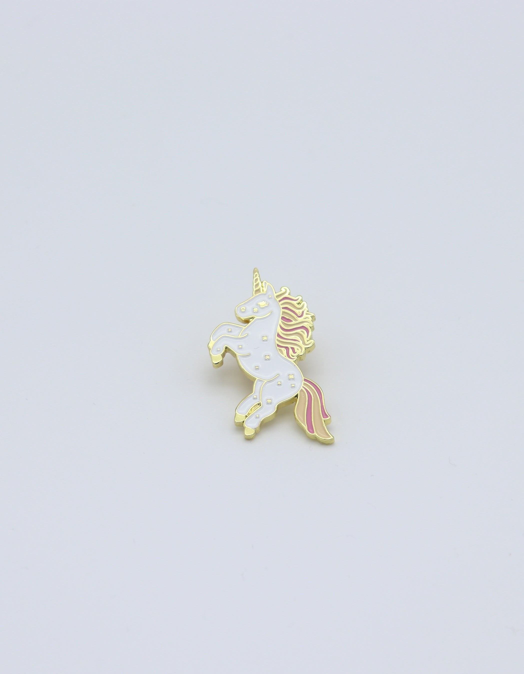 Unicorn lapel pin. Magical gold colorful for accessorizing cloths, backpacks, bandanas, masks.  Pride festivals.