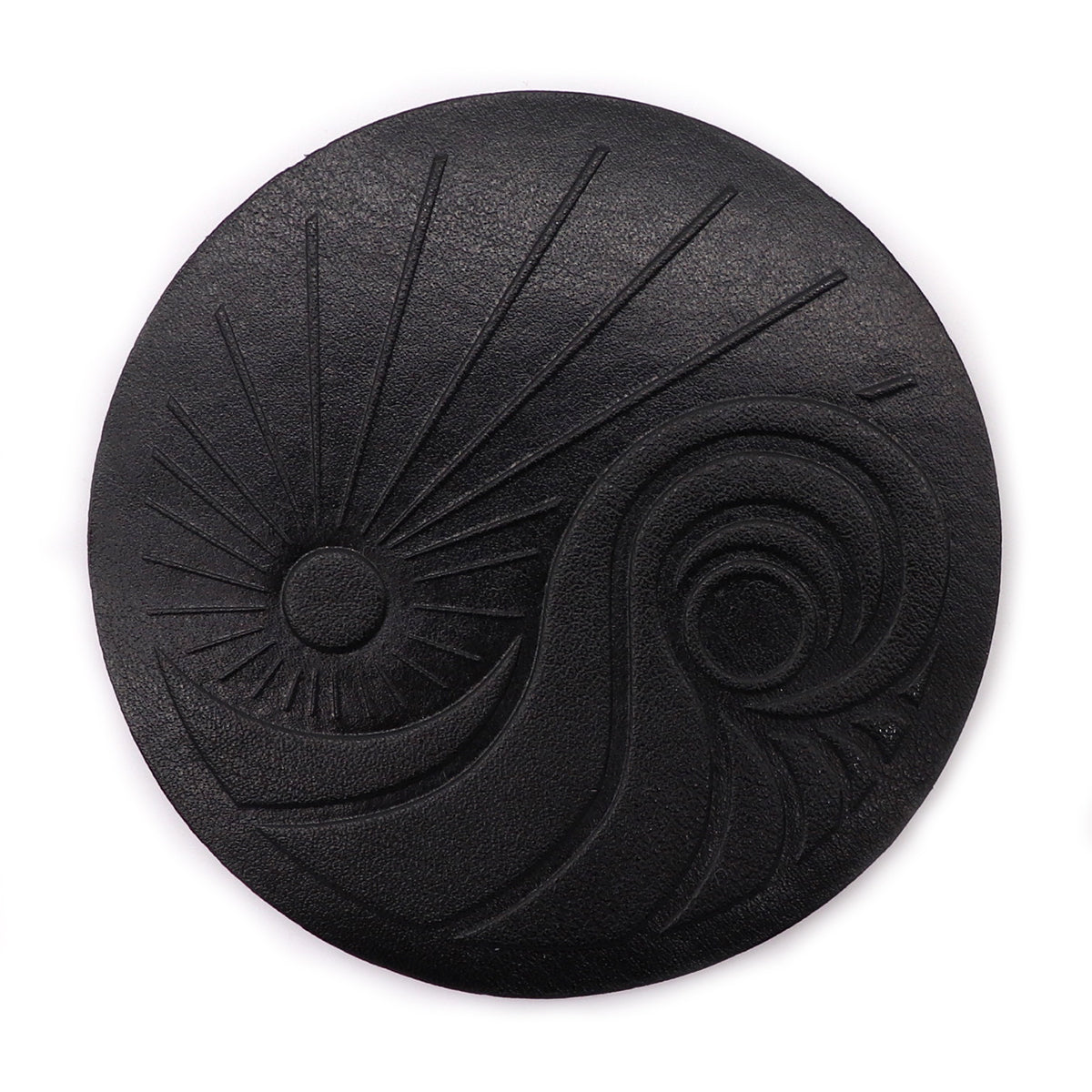 Rubber black patch exclusive design of San Diego Trading Company logo. Features sun rays and wavs with a yin yang for balance and complimentary in all blackout black patch. Embossed patch only Sold by SDTrading Co.