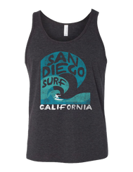 Men's Heather Charcoal Triblend tank with verbiage San Diego Surf with a wave