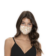 Leopard face mask MasQuin features elastic strechy mask with Leopard light spots on a white face mask. OSFM face mask
