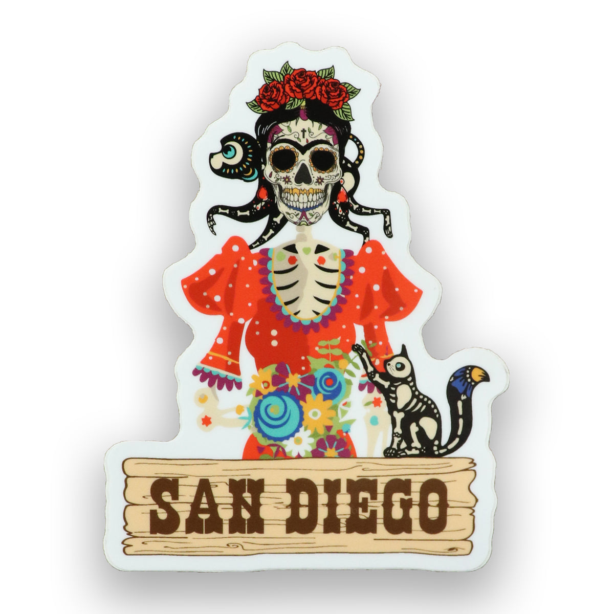 Frida Kahlo Sticker features Catrina skull with red rosses crown, and traditional Mexican dress in color red. A Black cat with see through skeleton, standing on a wooden blank with capital brown letters in caps SAN DIEGO. Sold by SDTrading Co.