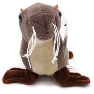 Sea lion plush stuffed animal with San Diego embroidery. Real life looking brown and soft tan sea lion plush with white yarn whiskers. For educational or decoration purposes. Great for adult or kids. Design and sold by SDTrading Co.