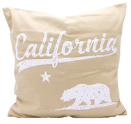 Pillow Cover natural canvas and white print design of California Republic Bear with white text California. Great gift for sofa couch, bedroom bed, or accent chair decor.
