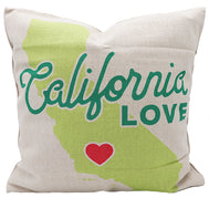 California canvas pillow cover of California map in pale yellow and red heart with teal text California Love. Great gift for sofa couch, bedroom bed, or accent chair decor. California Souvenirs, California home decor. Pillow Covers.