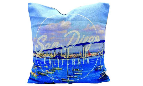 Pillow Cover of San Diego beautiful marina harbor bay and boats white text San Diego, California. Great gift for sofa couch, bedroom bed, or accent chair decor. Naval, Marine, Army or any family that enjoys our finest city.