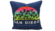 Pillow Cover of San Diego, California. Beautiful design blue pillow with black palms silhouette and half circle rainbow with text at bottom San Diego, California Great for sofa couch, bedroom bed, or accent chair decor.