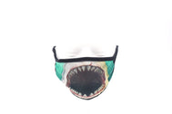Face Mask wide coverage printed design of close up great white shark with opened mouth showing gnarly teeth with teal background. Face mask adults for women or men. Helps with protection, washable mask protection, corona virus protection, corona virus, self protection, reusable face mask, re-usable mask, cool max, made in the usa.