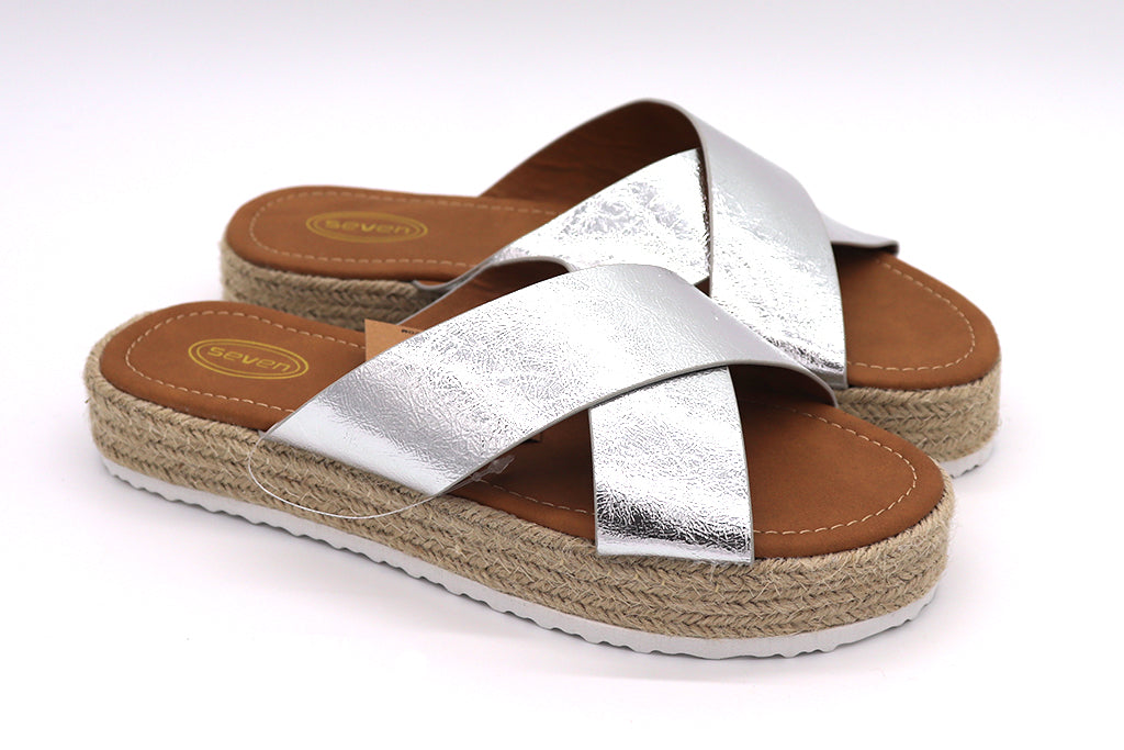 Women silver sandals straw weave bottom heel, flip flop sandals. Casual, comfy and stylish great for summer, party or vacation shoes. Platform Sandals. Women Shoes. Straw Shoes. Platform shoes. Size 5, Size 6, Size 7, Size 8, Size 9, Size 10 Sandals. Sold by SDTrading Co.
