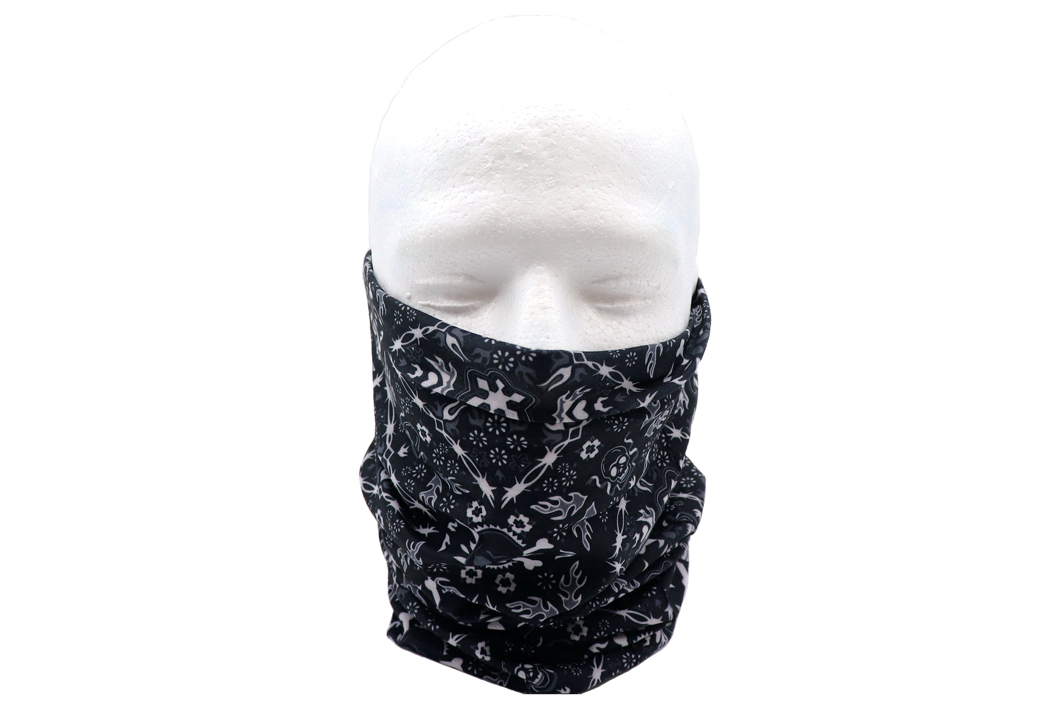 Black gaiter skulls and fire arrows. Bandana black sleeve for head wear, neck, wrist, accessory and face covering mask. White pattern of skulls and arrow figures over black gaiter.
