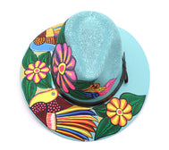 Sombrero : Mexican Hand Painted Birds & Flowers Hat - Sky Blue