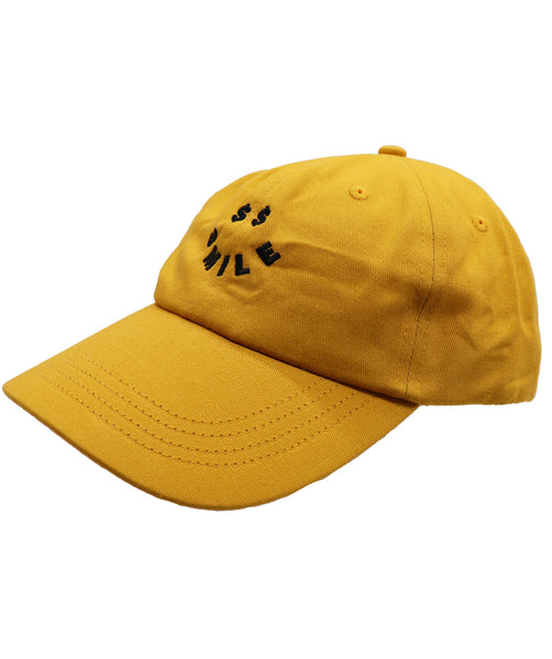 Unisex mustard yellow color dad hat with an embroidered dollar sings smiley face. Money cash hustling job or just for fun adjustable buckle baseball cap.