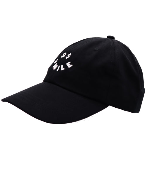 Solid black color dad hat with an embroidered dollar sings smiley face. Money cash hustling job or just for fun adjustable buckle baseball cap.
