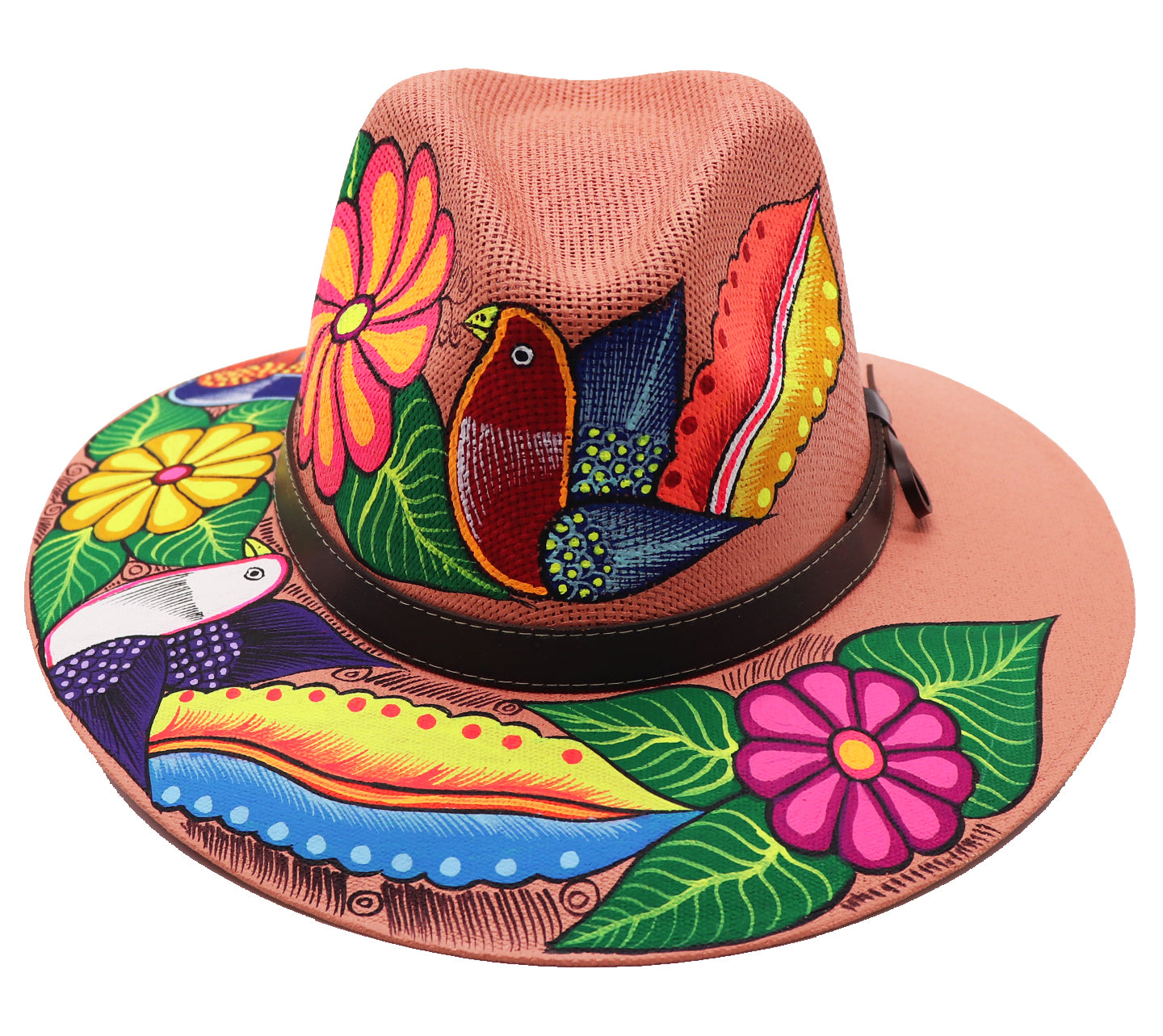 Sombrero : Mexican Hand Painted Birds & Flowers Hat - Coral