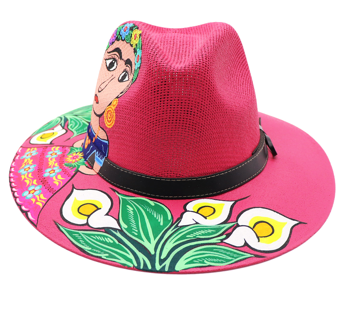 Calla lilies painted sombrero with Frida Kahlo a renowned Mexican artist. Beautiful dress worn by Kahlo a traditional Mexican colorful flower dress. Magenta sombrero with dark brown accessory belt strap. Sold by SDTrading Co.