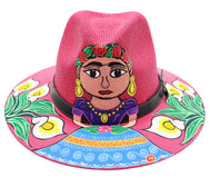 Sombrero : Mexican Hand Painted Frida & Flowers Hat - Magenta