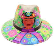 Sombrero : Mexican Hand Painted Frida Kahlo in Garden - Off White