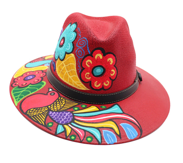 Sombrero : Mexican Hand Painted Birds & Flowers Hat - Red