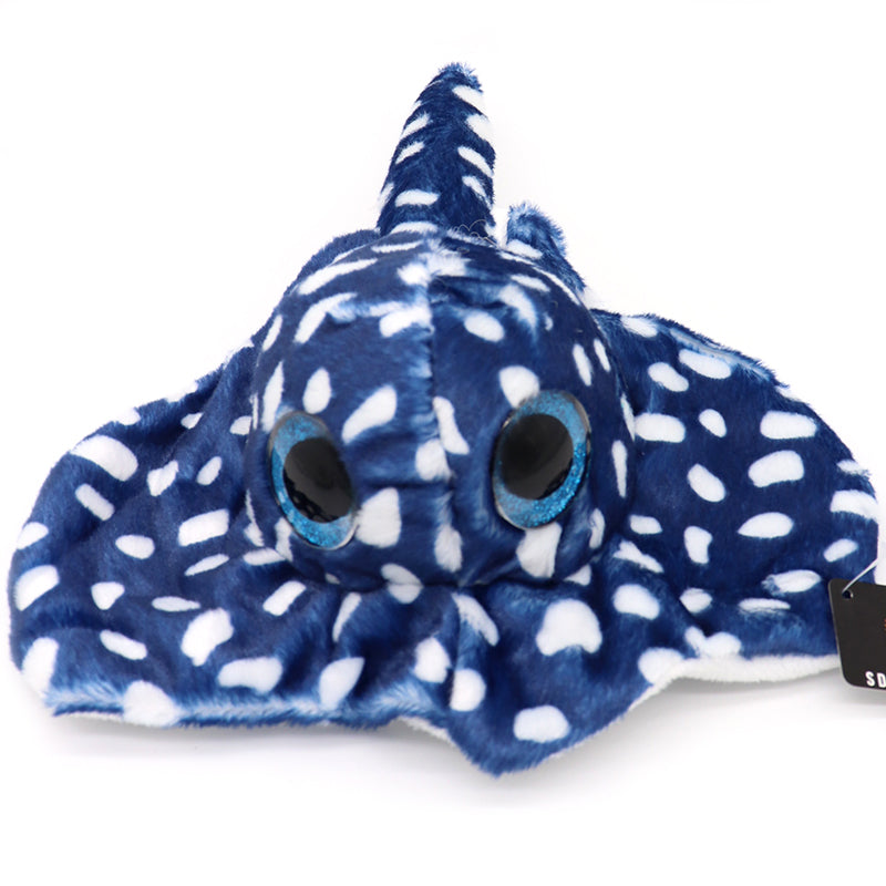 Blue spotted sting ray with blue round googly eyes plush sea animal. A cute adorable blue ray with white spots  and San Diego embroidery. Design and sold by small shop SDTrading Co.