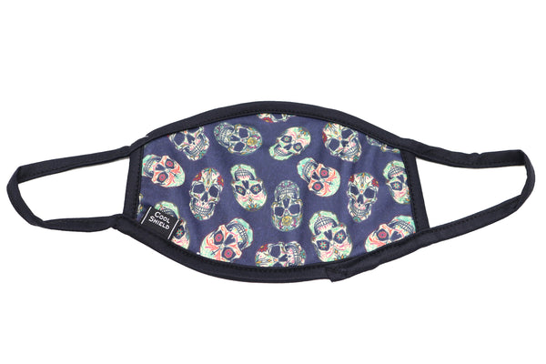 Face Mask wide sugar skulls face mask adults for women or men. Colorful skulls for day of dead or everyday wear. Mexican Mask. Fashion Cultural Mask. Helps with protection, washable mask protection, corona virus protection, corona virus, self protection, reusable face mask, re-usable mask, cool max, made in the usa.