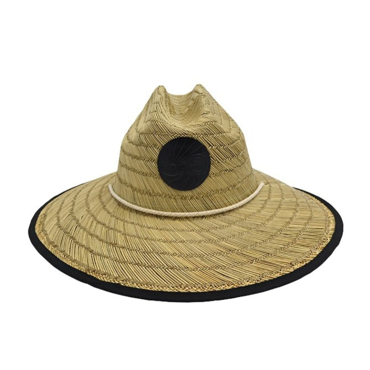 Khaki Lifeguard Straw hat with black trimming and SDTC's Logo lifted on a Black patch and a string around the brim to tie around your neck