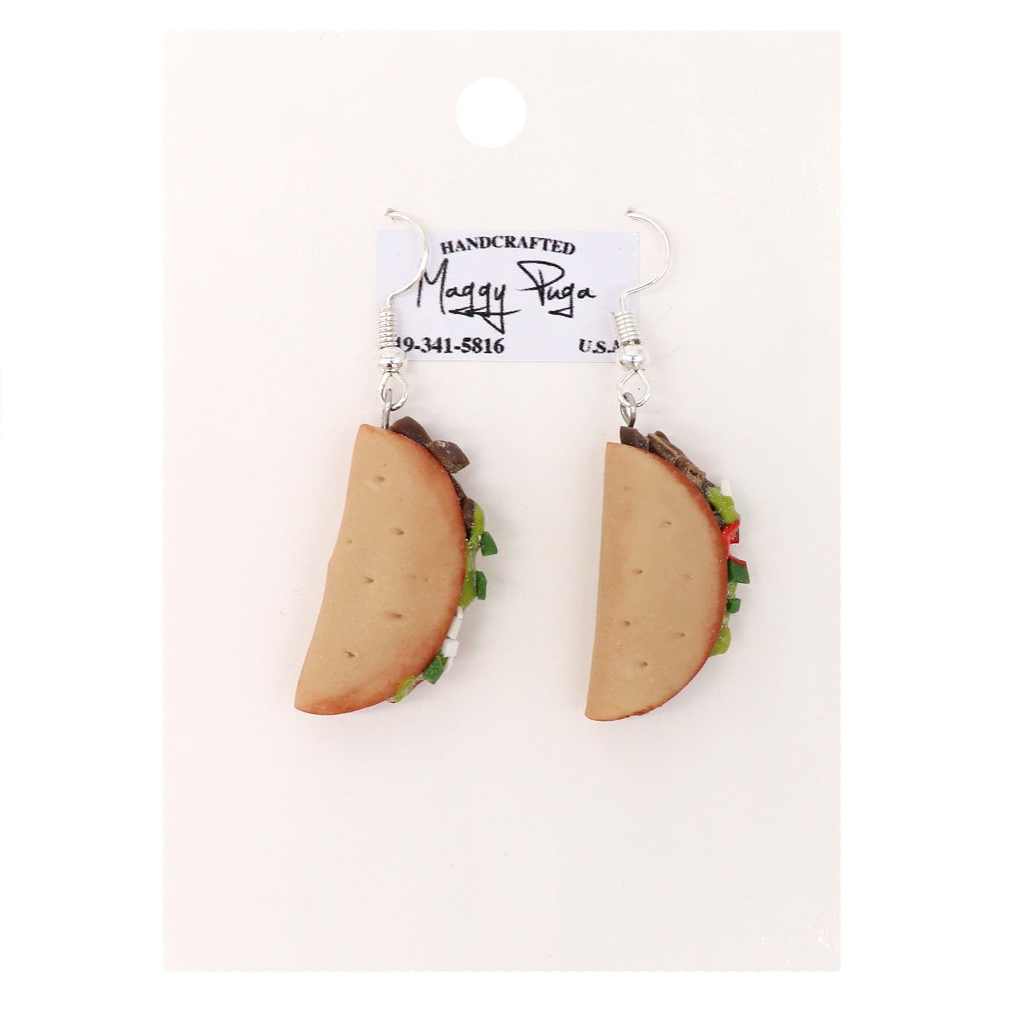 Taco earrings handmade featuring a corn tortilla, meat, salsa and sour cream. Handcrafted by small shop Maggy Puga and sold by SDTrading.