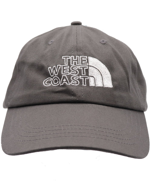 West Coast baseball hat. Embroider north face like symbol white west coast letter on charcoal hat. Great for traveling, camping, fishing, summer, outdoor activities. Fathers, son, or uncle's gift california hat, san francico hat, coast hat, west hat, san jose hat. Cool hat.