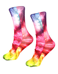 Fun socks tie dye bright colorful pattern green, yellow red, pink, blue knitted all around the sock cotton and polyester. Adult fun socks, cute socks, shoe socks, funky socks, nice socks. Teen socks fun. Crazy Socks.Boys Socks, Girls Socks, Adult Socks.