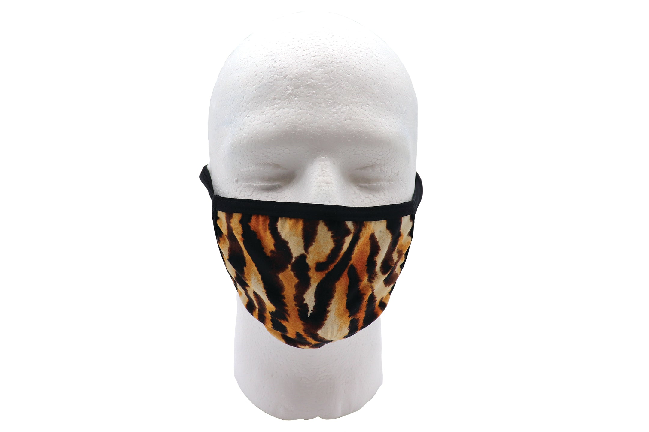 Tiger Face Mask wide coverage face mask adults for women or men. Black stripes over orange tiger. Helps with protection, mask, covid, covid-19 protection, corona virus protection, reusable face mask, re-usable mask, breathable and comfortable lycra face mask Carol Baskin face mask. Joe face mask.