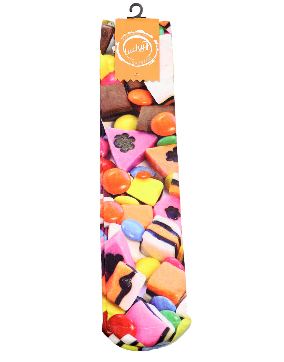 candy socks, treats socks, colorful socks, fun socks, women socks, Lucky 7 socks, Lucky 7, Candy, colorful, cool socks, long socks, teen socks