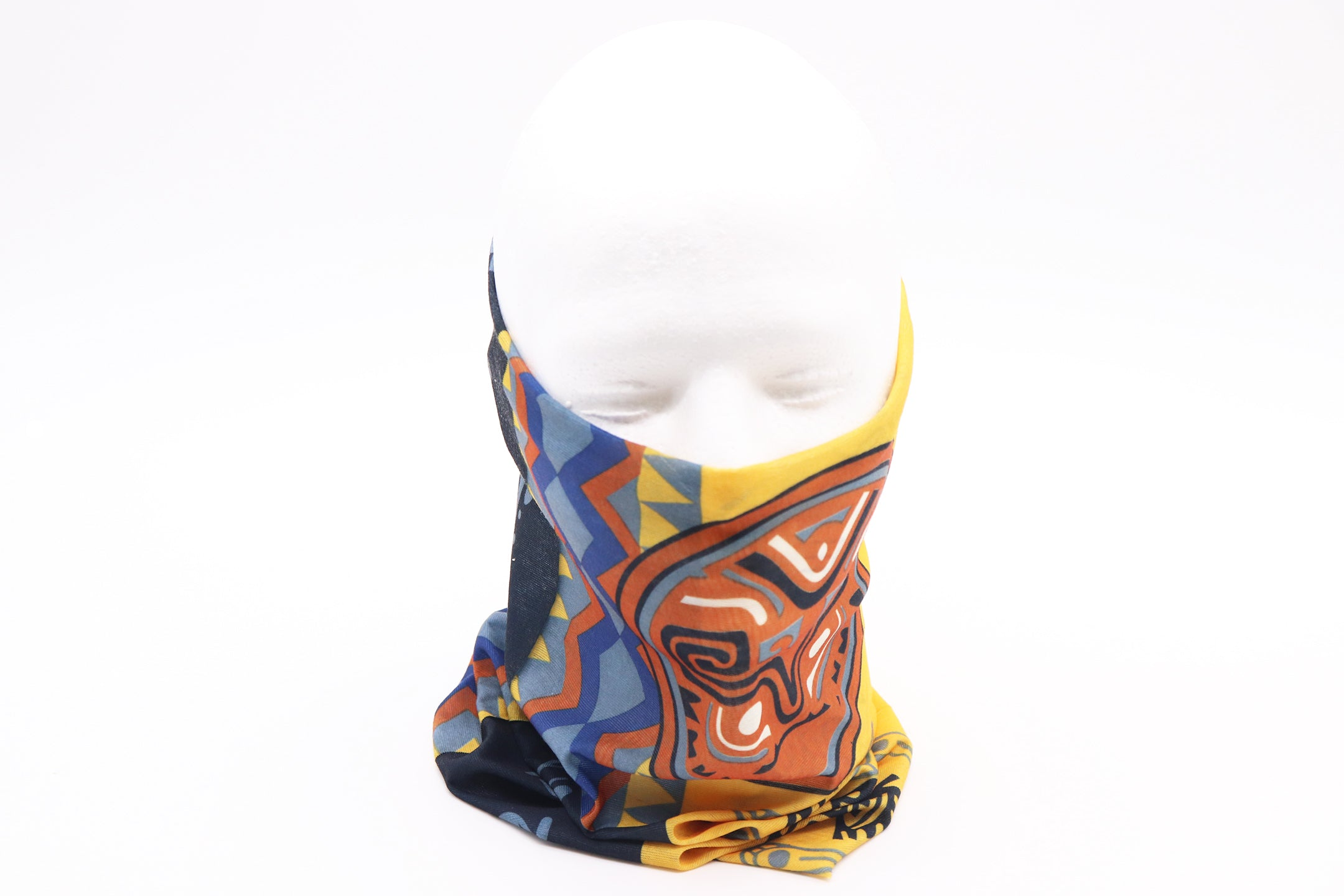 Gaiter native tribal pattern cool warm earth colors and figures. Headscarf sleeve head wear, neck, mouth, face mask protection. Native tribal design Sold by SDTrading Co.