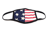 Mask USA Flag lycra youth face mask with black trimming. Half of mask has blue with big white stars and other half is red and white stripes. Split is vertical for the design. Sold by SDTrading Co. Washable Mask.