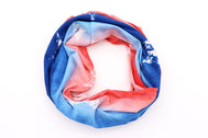 Red White and Blue Adult Gaiter face mask with white stars stamped all around Lightweight and breathable United States of America  flag gaiter bandana doo rag. United States of Ameria, USA proud red, white, blue colors with stars. Face cover mask, fabric face mask, breathable mask, washable mask for kids mask or adults mask.