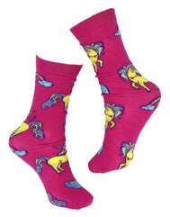 Unicorn socks magical rainbows, wings and unicorn printed on hot pink socks. Great for accessorizing. Women Unicorn Socks, Teen Unicorn Socks, Girls Unicorn Socks. Fun socks. Crazy Socks. Rainbow Socks. Unicorn Fun.