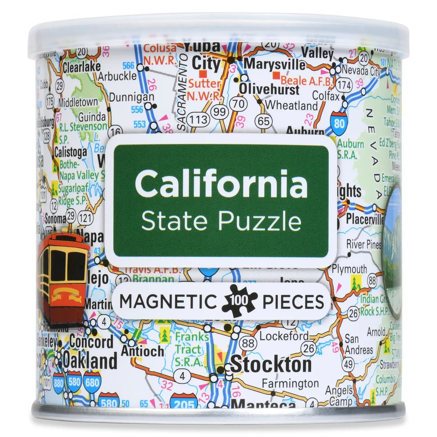 Packaging canister of California road map puzzle with magnetic pieces 100 count with cities trolley major roadways and landmarks