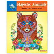 Book cover of Hello Angel Majestic Animals Coloring Collection by Angelea Van Dam with colorful patterned bear with flowers