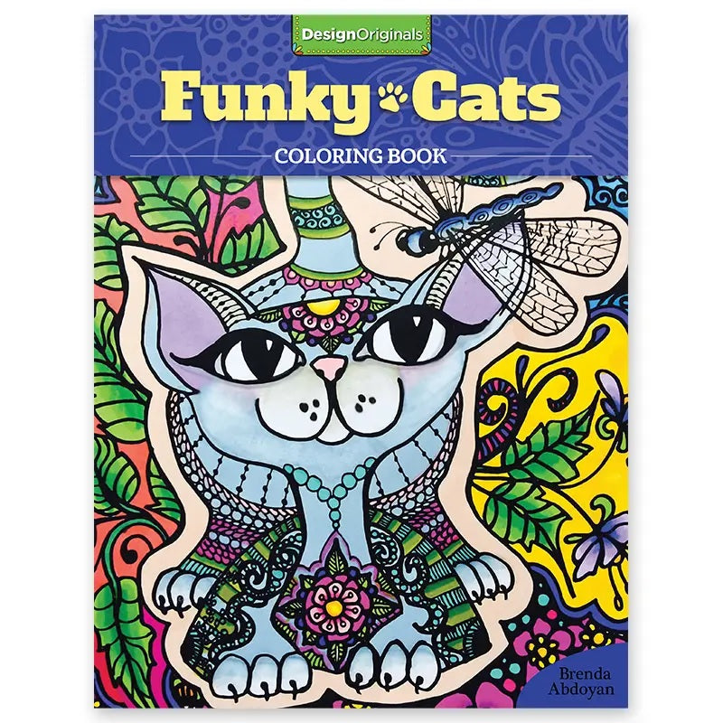 Book cover of Funky Cats Coloring Book with Henna tattoo inspired mandala style cat outlines to color in by Brenda Abdoyan