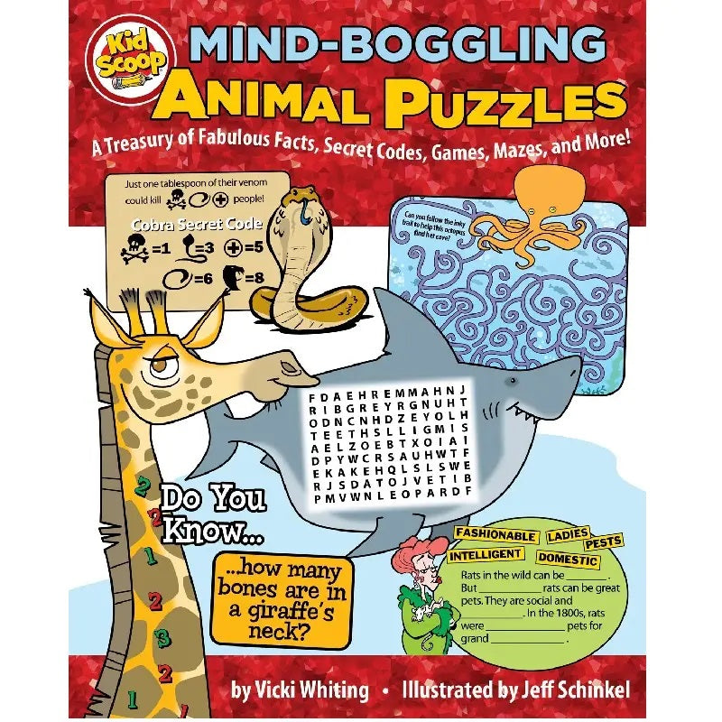 Book cover of Mind Boggling Animal Puzzles with Giraffe Shark Cobra and Mazes Word Searches Secret Code Games by Vicki Whiting
