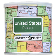 Packaging canister of USA road map puzzle with magnetic pieces 100 count with cities capitals major roadways and landmarks