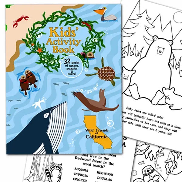 Colorful cover of kids activity book wild friends of california with whales turtles seal animals and sample of pages to color
