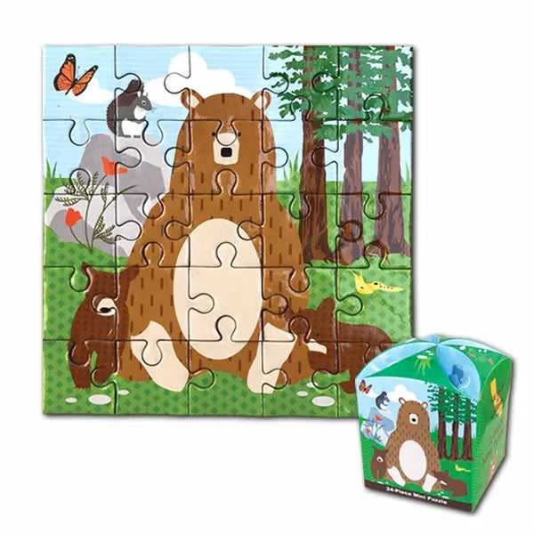 25 Piece square puzzle for children with artwork of bear family with butterfly poppy flower blue sky redwood tree illustration
