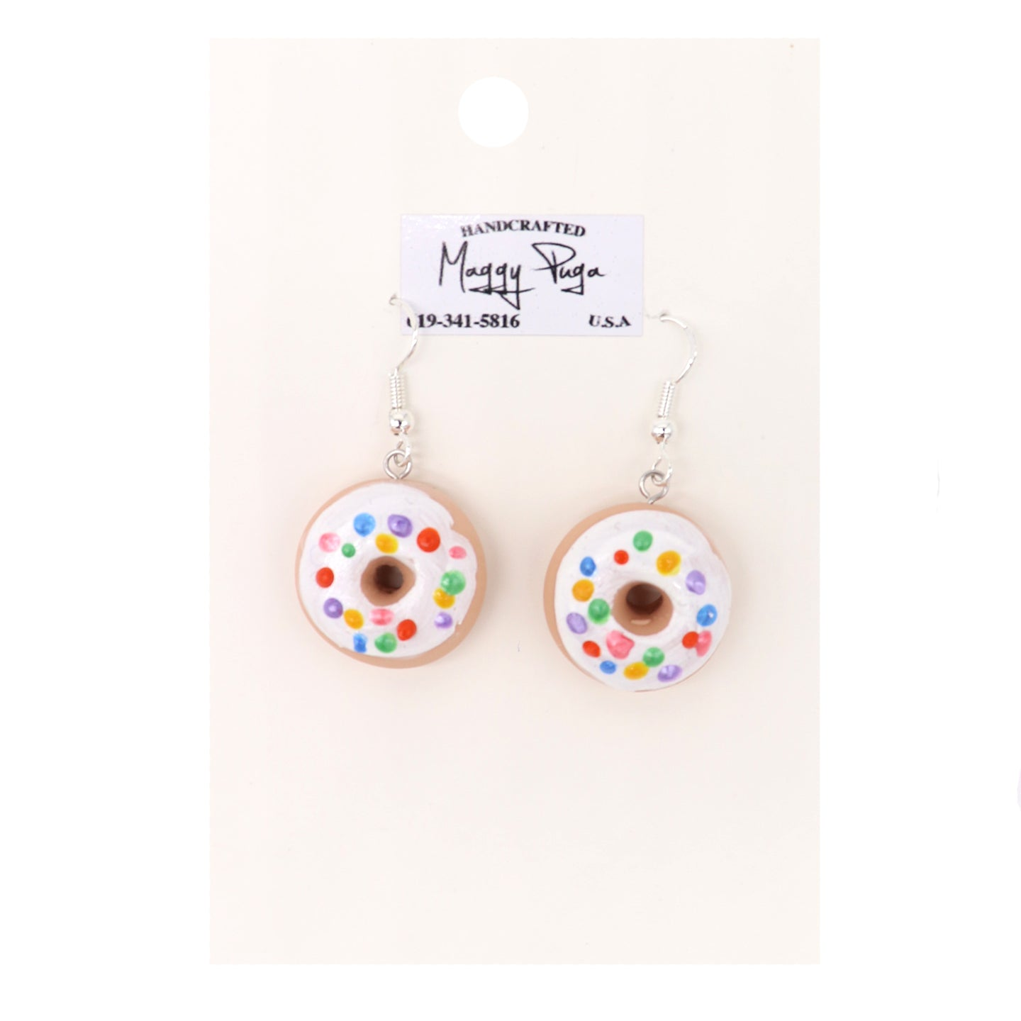 Sprinkle Dounut Earrings handcrafted in the USA by small shop Maggy Puga. Vanilla frosting with sprinkles. Sold by SDTrading Co.