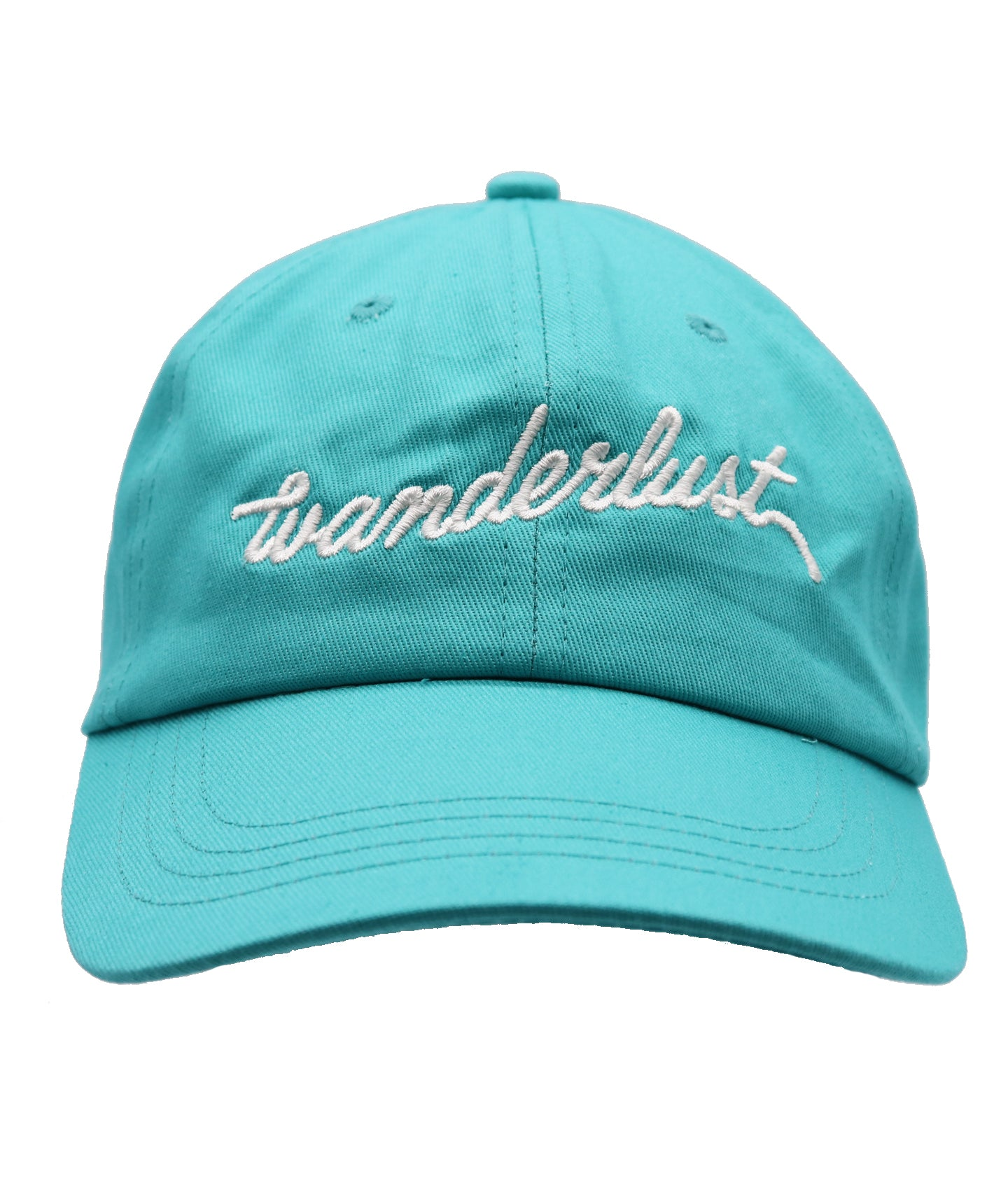 Traveling hat, wanderlust hat, wander hat, teal blue with embroidered white letters spelling out wanderlust across the front. Great fun hat for traveling individuals. Love traveling this is the perfect hat. Fun hat, bright hat, teen hat, mens hat, women's hat.