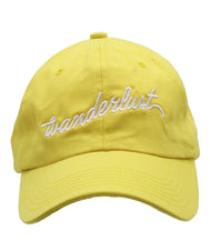 Men and Women unisex Dad hat solid bright pastel yellow embroidered wonderlust cursive white. Love to wonder on many vacation trips all over the world we have the perfect cap gift. Nice traveling for outdoor sun protection material 100% Cotton Designed and Embroidered in California, USA