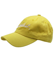 Men and Women unisex Dad hat solid bright pastel yellow embroidered wanderlust cursive white. Love to wonder on many vacation trips all over the world we have the perfect cap gift. Nice traveling for outdoor sun protection material 100% Cotton Designed and Embroidered in California, USA