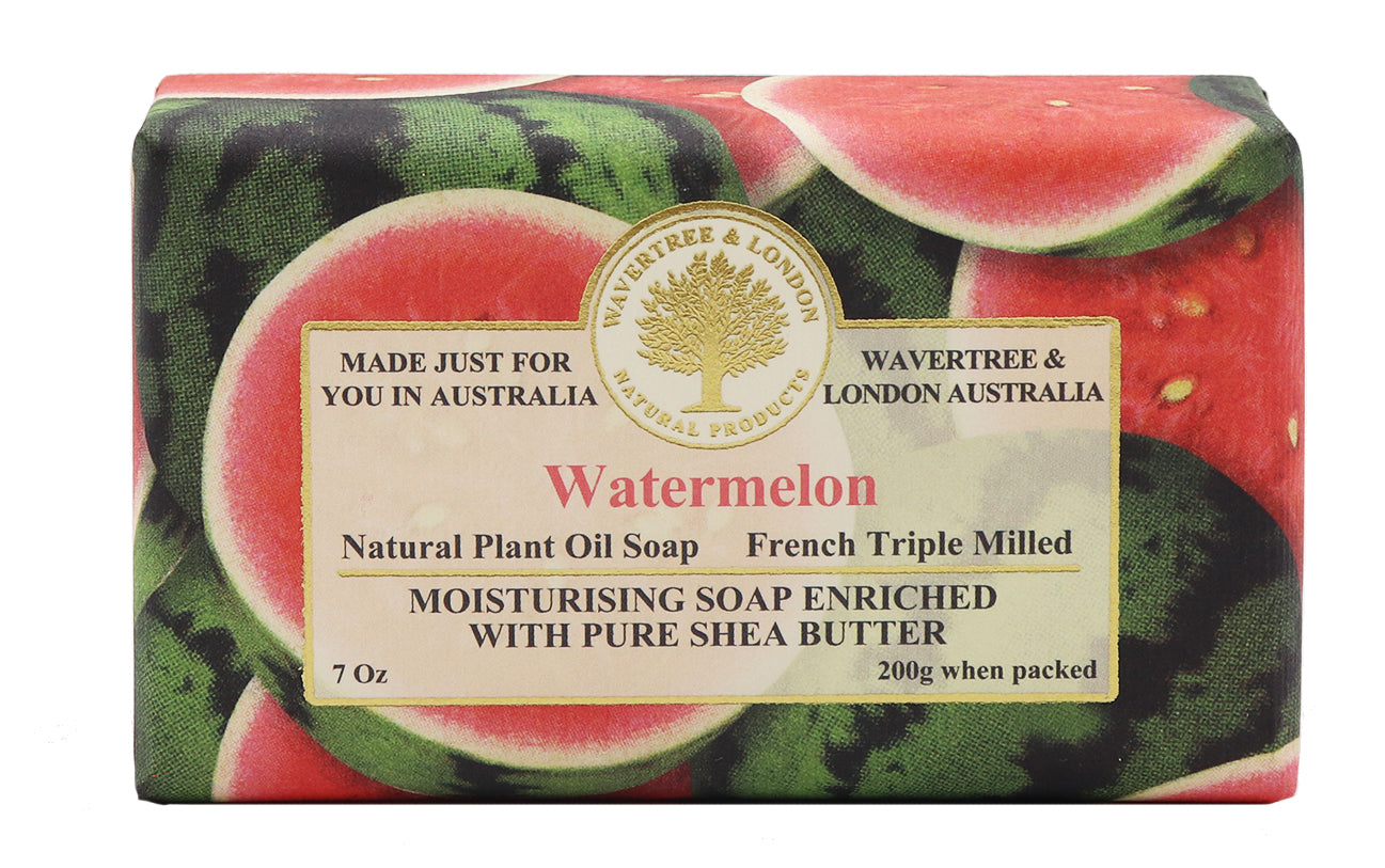 Natural organic vegan watermelon triple french milled bar soap. Natural plant oil with shea butter not tested on animal and no petro chemicals