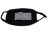 Black face mask with six striped horizontal lines across printed in white. Adult fabric mask, cotton polyester blend face mask. With black trim and raw edge closure on one side. Face covering protection.