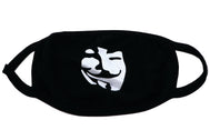Black face mask Anonymous mask inspired by Guy Fawkes character. Black mask with white print of man mask anonymous. Its a comfy mysterious cool mask for everyday use. Adult cotton polyester blend face mask. With black trim and raw edge closure on one side. Face covering protection.